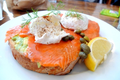 Poached Eggs with Smoked Salmon & Avocado on Spelt Toast with Capers ...